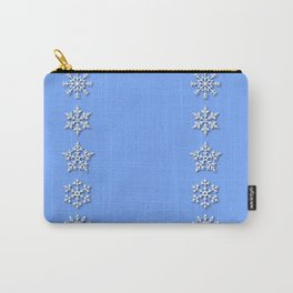Five Unique Snowflakes in a Row on Sky Blue Background Carry-All Pouch