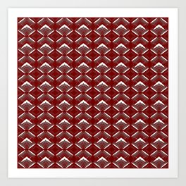 Burgundy rhombuses of white stars with hearts in a bright intersection. Art Print