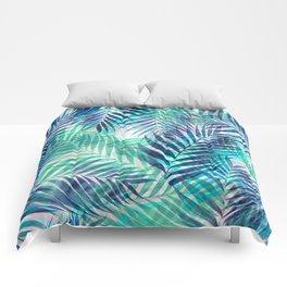 Palm Leaves - Indigo Green Comforters