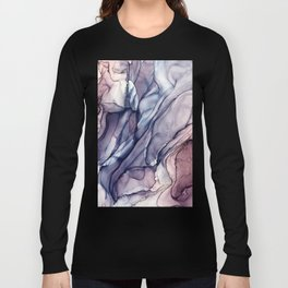 Slate Purple and Sparkle Flowing Abstract Long Sleeve T-shirt