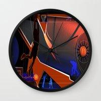 basketball Wall Clocks featuring Basketball by Robin Curtiss
