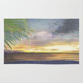 Beautiful Sunset at the Beach Rug