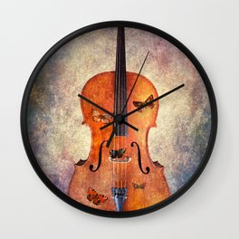 Cello with butterflies and colorful texture Wall Clock