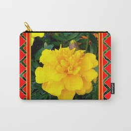 DECORATIVE TEAL-RED & YELLOW  MARIGOLD FLORAL Carry-All Pouch