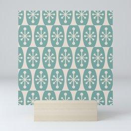 Mid Century Modern Atomic Fusion Pattern 334 Foam Green and Beige Mini Art Print