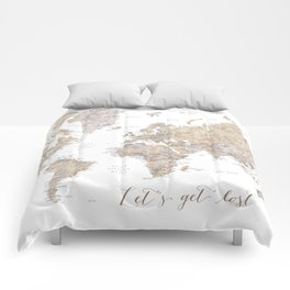 Let's get lost world map with cities in neutral watercolor Comforters