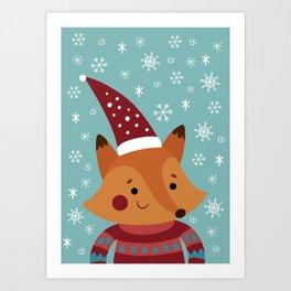 Xmas fox Art Print