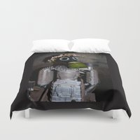 soviet Duvet Covers featuring Household robot with gasmask by Guna Andersone & Mario Raats - G&M Studi