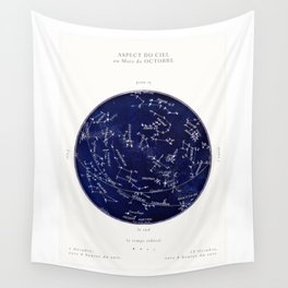 French October Star Map in Deep Navy & Black, Astronomy, Constellation, Celestial Wall Tapestry