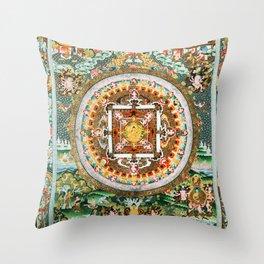 Buddhist Mandala 48 White Tara Throw Pillow