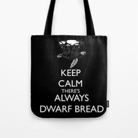discworld Tote Bags featuring Discworld - Keep calm there's always dwarf bread by Rebecca McGoran