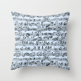 Hand Written Sheet Music // Light Blue Throw Pillow
