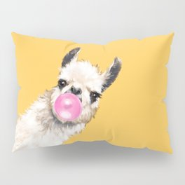 Bubble Gum Sneaky Llama in Yellow Pillow Sham
