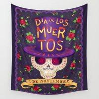 dia de los muertos Wall Tapestries featuring Dia De Los Muertos by MAGIC CABIN Studios