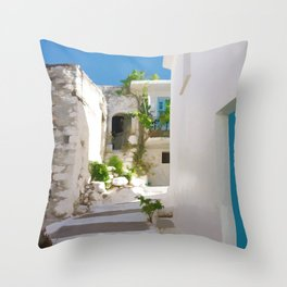 Lots of Steps and Whitewashed Buildings in Greece Throw Pillow