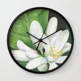 Watercolor Orange Blossom Wall Clock