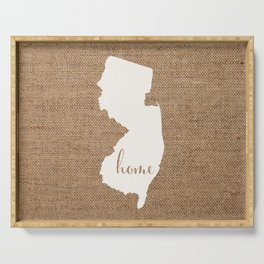New Jersey is Home - White on Burlap Serving Tray