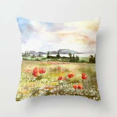 Poppies at the Lake Balaton Throw Pillow