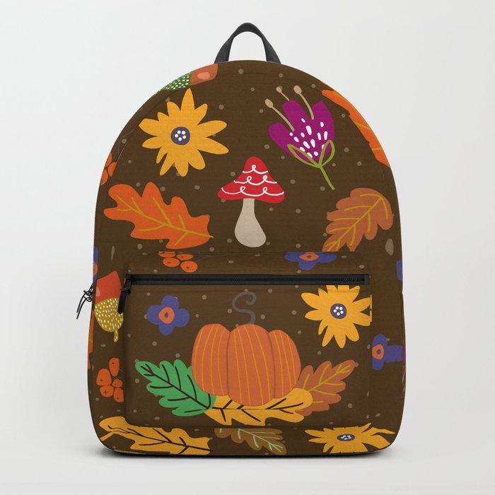 Autumn Fall Leaves Flower Pattern Backpack