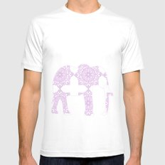 Animals Illustration - Purple Damask elephant White Mens Fitted Tee MEDIUM