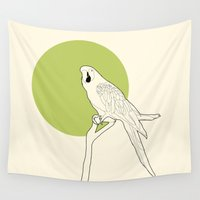 parrot Wall Tapestries featuring Parrot by Rebekhaart