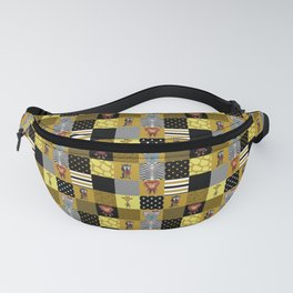 Jungle Friends Mustard & Black Cheater Quilt Hand-Painted Jungle Animals Fanny Pack