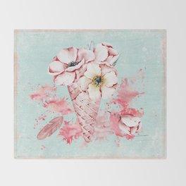 Pink & Teal Summer Fun Flower Ice Cream Waffle -Illustration Throw Blanket
