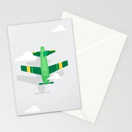 Green Plane High Sky Stationery Cards
