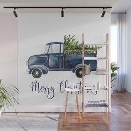 Blue Christmas Truck Wall Mural