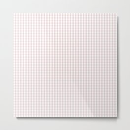 Small Alice Pink and White Gingham Check Plaid Metal Print