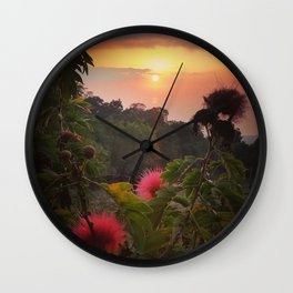 Pink Powder Puff at Sunset Wall Clock