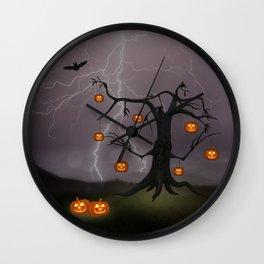 SCARY HALLOWEEN TREE Wall Clock