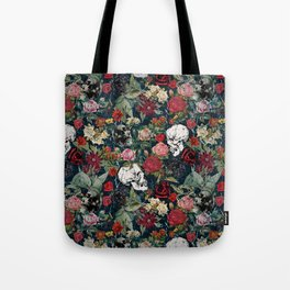 Distressed Floral with Skulls Pattern Tote Bag
