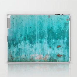Weathered turquoise concrete wall texture Laptop & iPad Skin