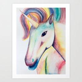 Rainbow Unicorn Watercolour Art Print