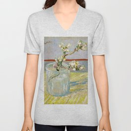 Vincent van Gogh - Sprig Of Flowering Almond In A Glass - Digital Remastered Edition Unisex V-Neck