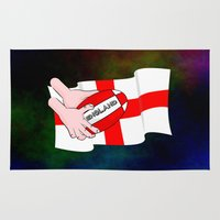 rugby Area & Throw Rugs featuring England Rugby Flag by mailboxdisco