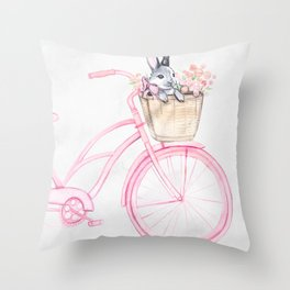 Rabbit and Bicycle Throw Pillow