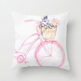 Rabbit and Bicycle Throw Pillow