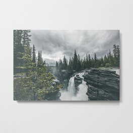 Landscape Athabasca Falls Christmas Metal Print