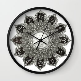Astrology Signs Mandala Wall Clock