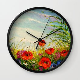 Field in poppies and cornflowers Wall Clock