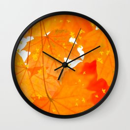 Fall Orange Maple Leaves On A White Background #decor #buyart #society6 Wall Clock