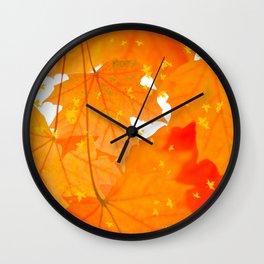 Fall Orange Maple Leaves On A White Background #decor #society6 #buyart Wall Clock