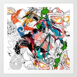 Jackson Pollock Inspired Graphic Design Collage Art Print