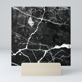 Charcoal Black Marble With White Chocolate Creamy Veins Mini Art Print