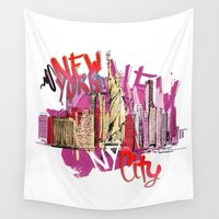 nyc Wall Tapestries featuring NYC by Don Kuing