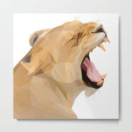 Lion Queen Roar Lowpoly Art Illustration Metal Print
