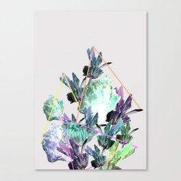 Neon Flowers - Icy Grey Canvas Print