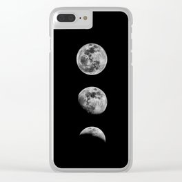 Phases of the Moon print black-white monochrome new lunar eclipse poster home bedroom wall decor Clear iPhone Case
